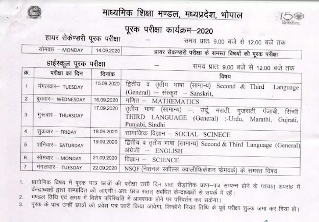 Time Table And Admit Card For MP Board 10th And 12th Class Supplementary Compartment Exam 2020