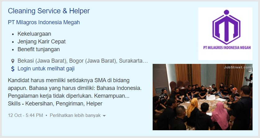 listing cleaning service di jobstreet