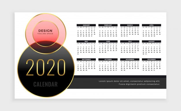Calendario 2020 editable estilo lujoso