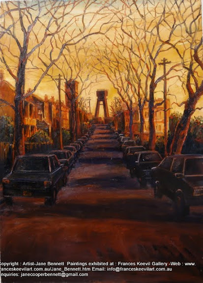 plein air oil painting at sunset of the half built Anzac Bridge from John st Pyrmont  by industrial heritage artist Jane Bennett