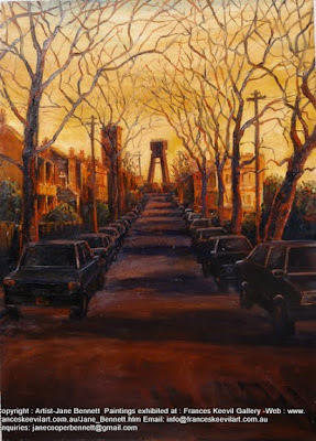 Plein air oil painting of John st in  Pyrmont looking towards the Anzac Bridge by industrial heritage artist Jane Bennett
