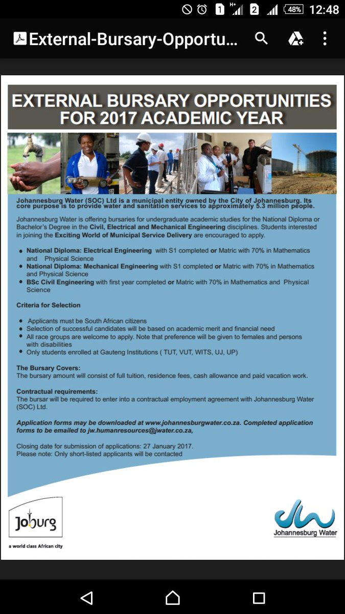 bursary opportunities for engineering in Gauteng 2017