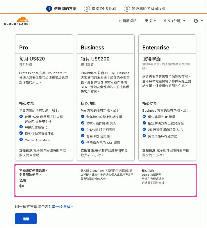 選擇 Cloudflare 方案