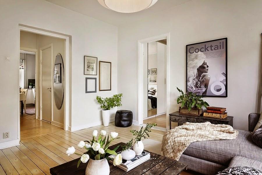 styl skandynawski, vintage, dodatki, dekoracje, ramki, drabina, skrzynka, IKEA, plakat, salon
