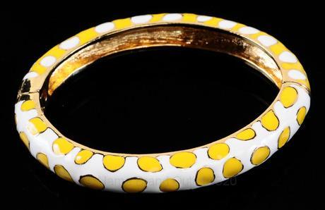 Kenneth Jay Lane yellow enamel hinged cuff bracelet