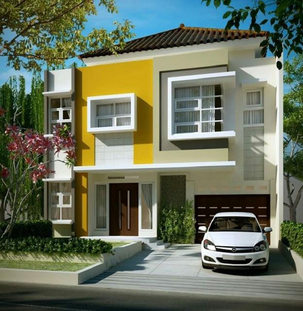 Minimalist 2-storey house in bright colors