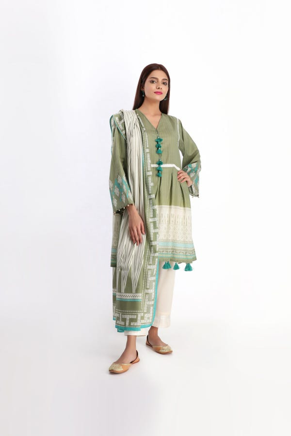 khaadi unstitched summer collection printed 2 PC green colour suit