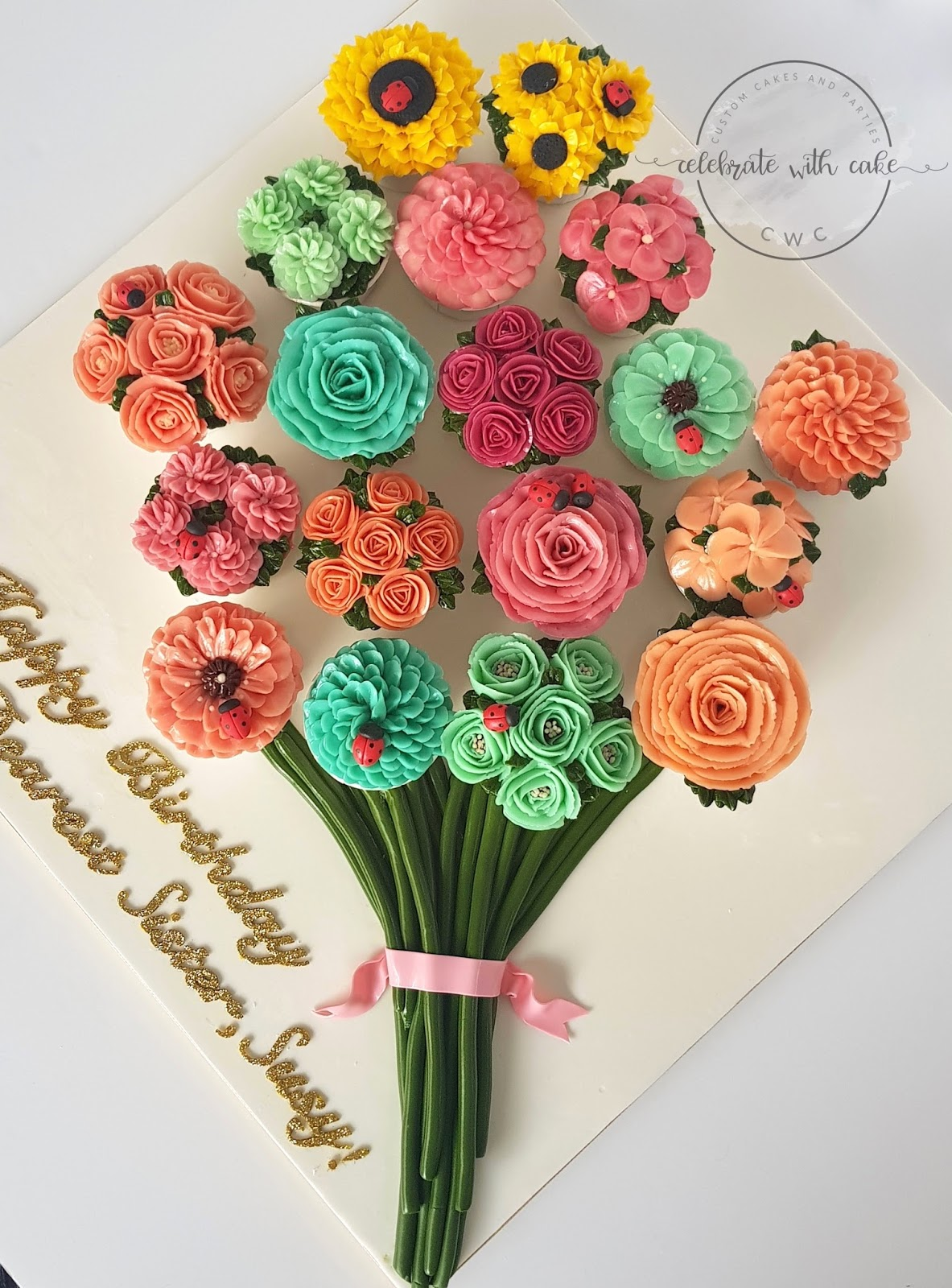 Celebrate with cake bouquet of buttercream floral cupcakes bouquet of buttercream floral cupcakes izmirmasajfo