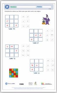 Ficha interactiva: Cuadrados mágicos 3x3.