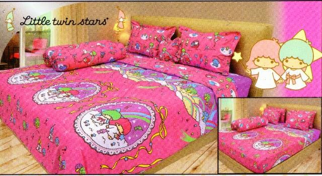sprei internal motif kartun little twins stars