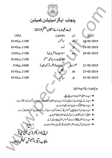 8th Class Date Sheet 2020
