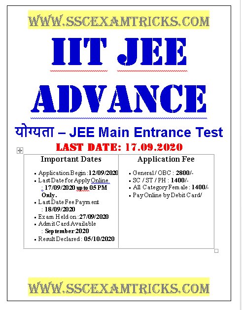 JEE Advanced Admission Online Form