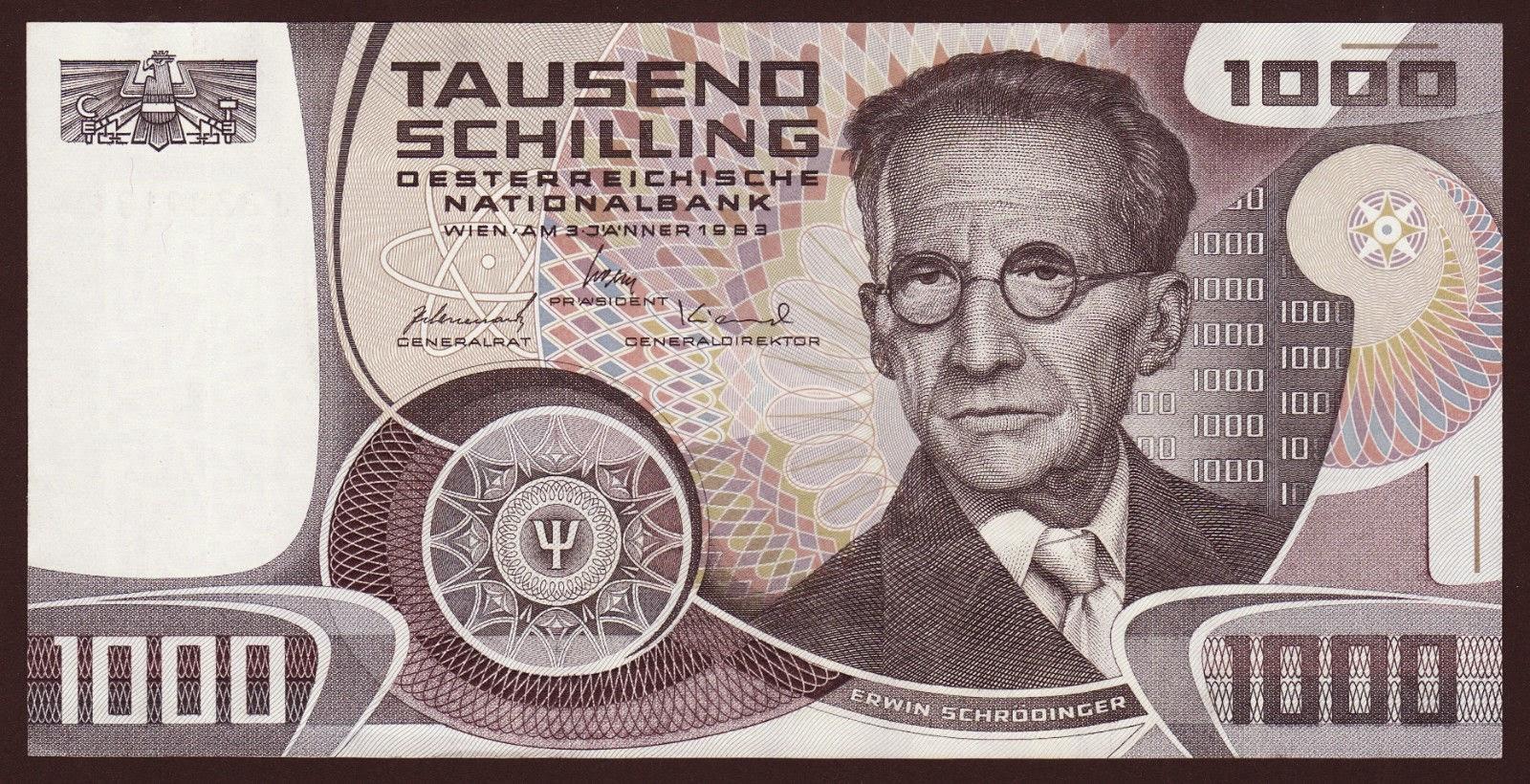 Austria Banknotes 1000 Schilling banknote 1983 Erwin Schrödinger
