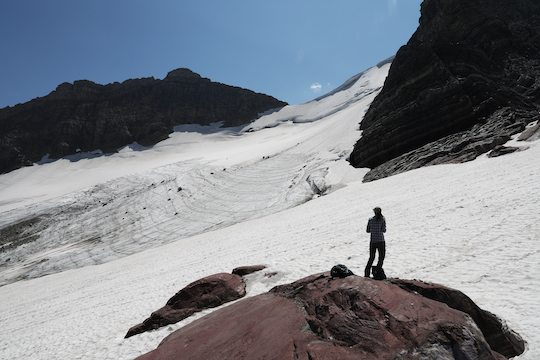 My wife in front of Sperry Glacier