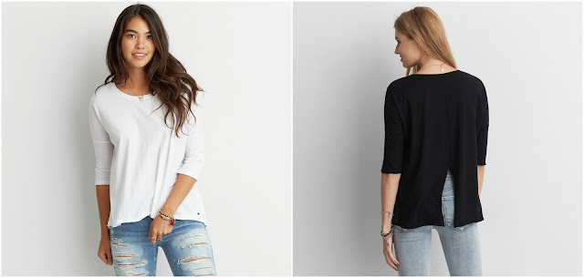 AEO Split Back T-Shirt $10 (reg $25)