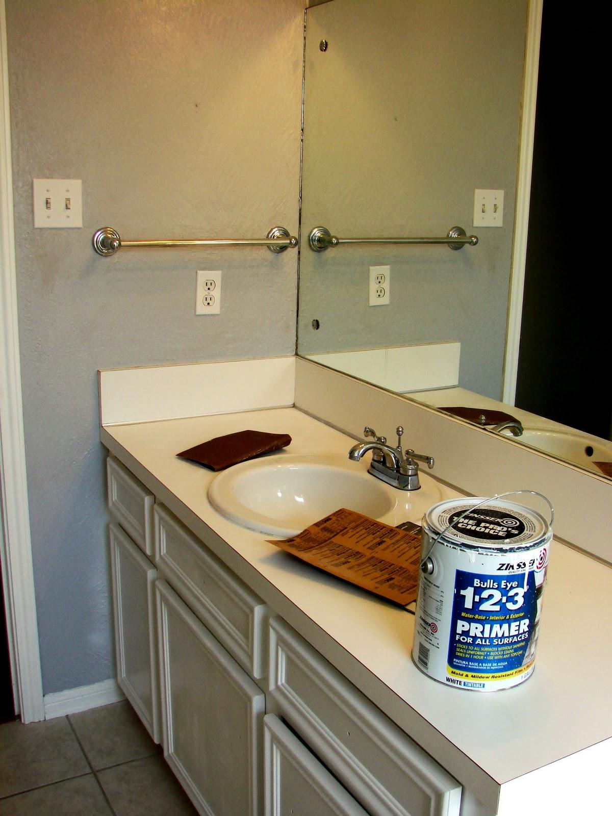 Imperfect Treasures Spray Painted Bathroom Countertop