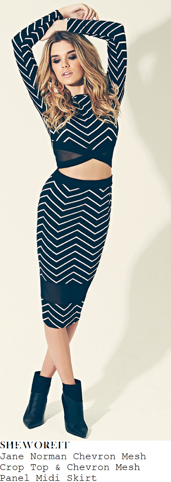 georgia-may-foote-black-and-white-zig-zag-print-chevron-long-sleeve-mesh-panel-crop-top-and-high-waisted-midi-skirt-dublin