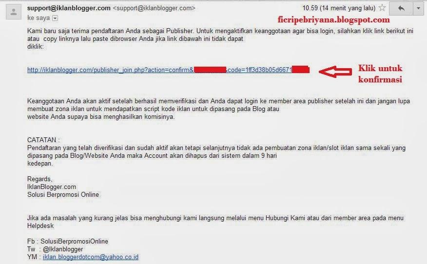 Memasang Iklan Pada Blog Dari IklanBlogger.com 5 - Ficri Pebriyana