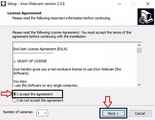 accept agreement  and tap on next Use Android phone as Webcam