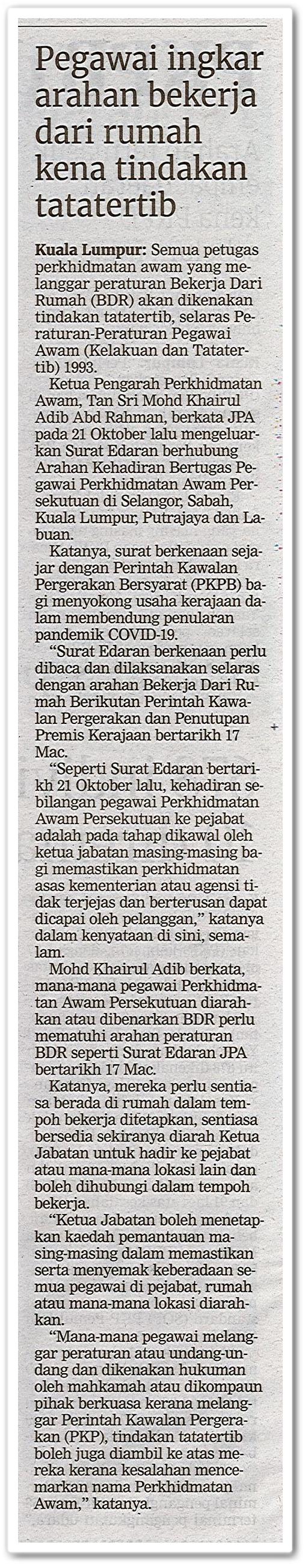 Pegawai ingkar arahan bekerja dari rumah kena tindakan tatatertib - Keratan akhbar Berita Harian 26 Oktober 2020