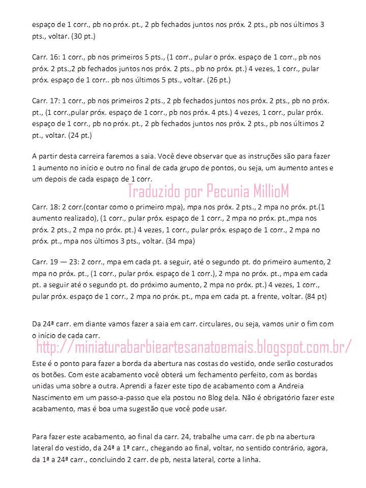 PAP traduzido vestido de crochê para Barbie por Pecunia MillioM