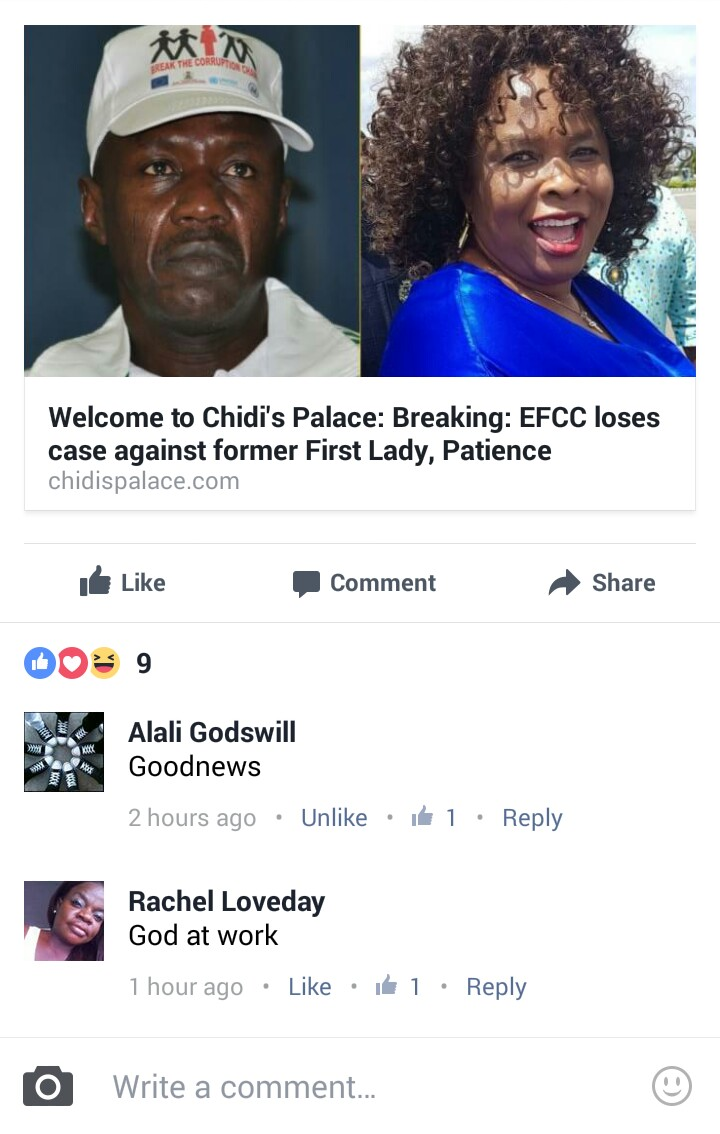 "Facebook comments - EFCC and Patience Jonathan: ""He Who Laugh Last, Laugh Best"""
