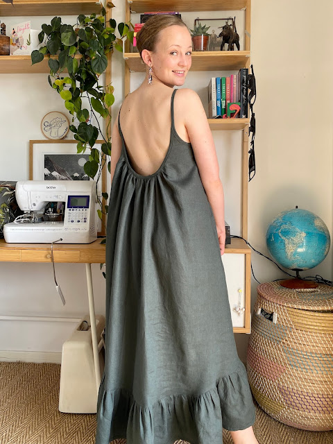 Diary of a Chain Stitcher: Paradise Patterns Hallon Dress in smoke green linen from The Fabric Store