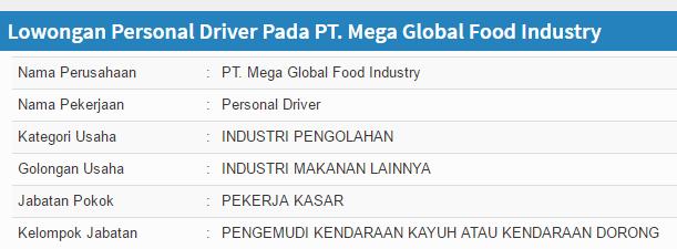 Lowongan kerja PT. Mega Global Food Industry terbaru Gresik 2019