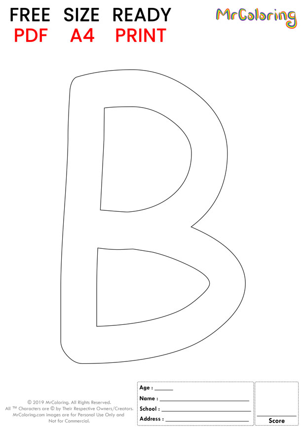 Alphabet letter B coloring pages Uppercase or Capital Cartoon for kids