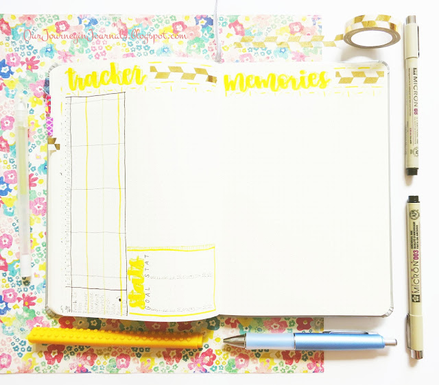 empty July monthly habit tracker and memories spread for bullet journal