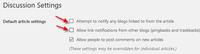 Pingback and trackback WordPress settings