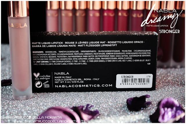 stronger Dreamy Matte Liquid Lipstick rossetto liquido nabla cosmetics inci