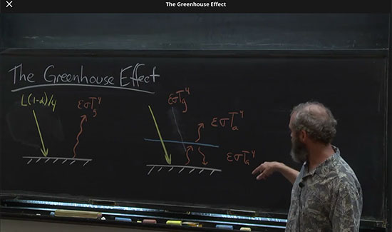 Professor Archer shows you can calculate a planet's temperature using heat balance (Source: www.coursera.org)