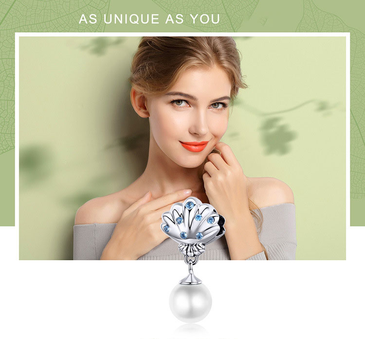 925純銀扇貝貝珠鍊墜