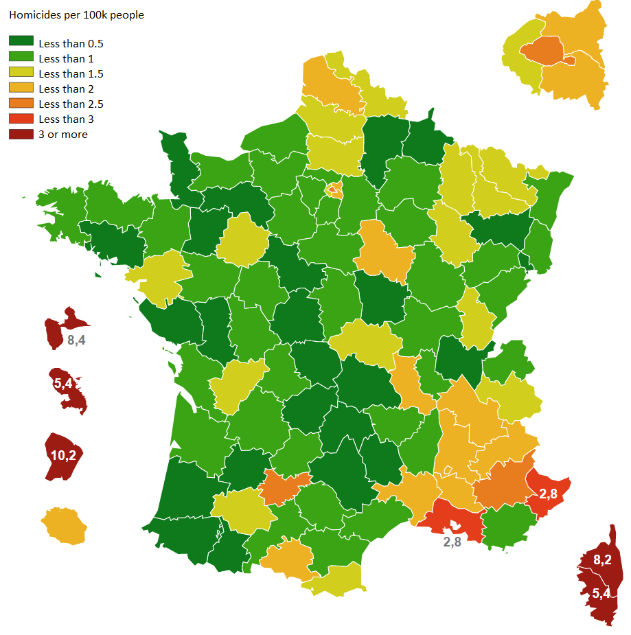 Homicide rate in France per department