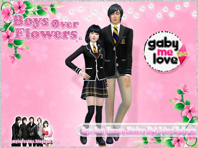 Boys Over Flowers, Shinhwa High School Uniforms, Sims 4 - Gabymelove Sims