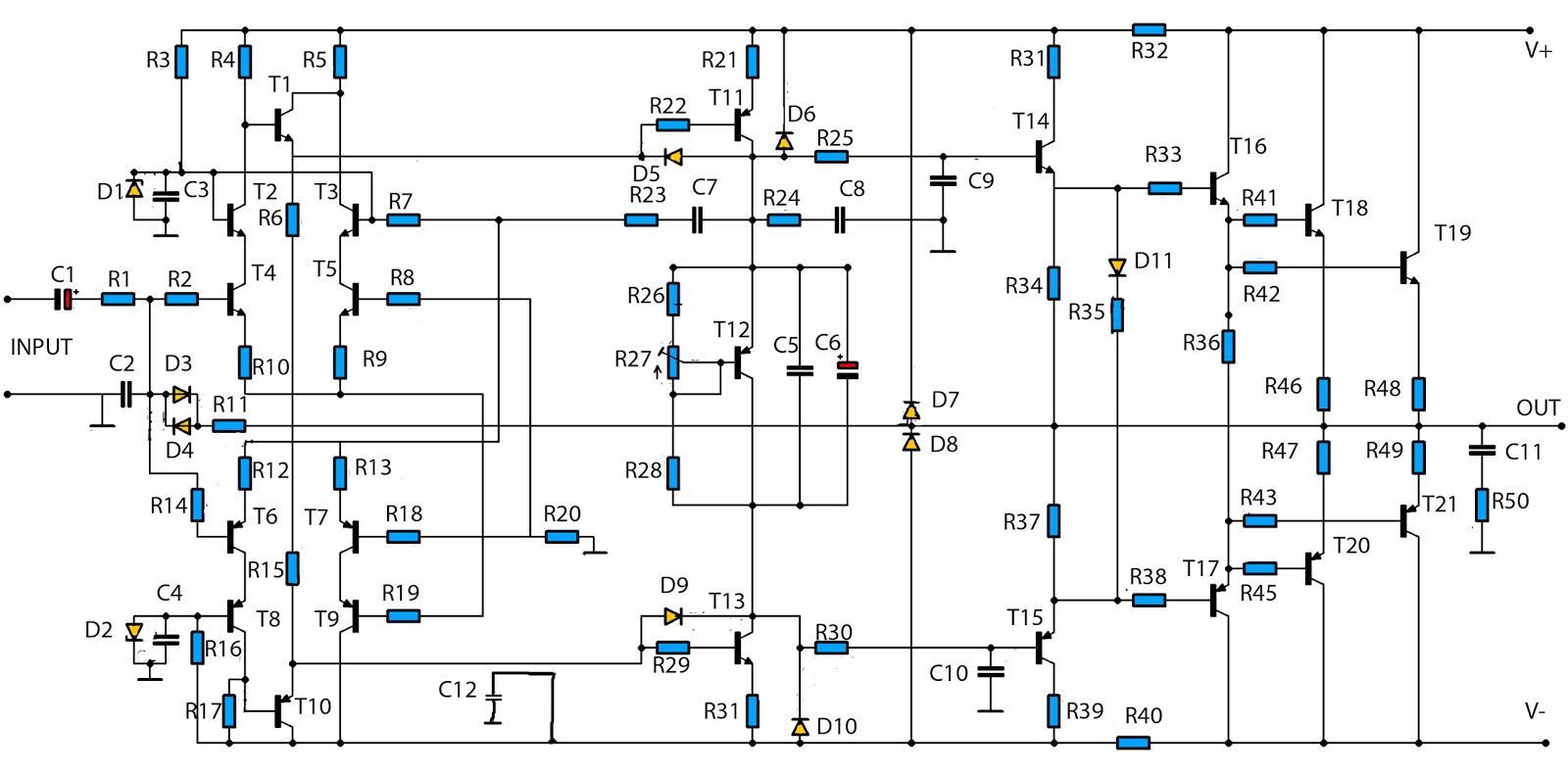 Scematic Diagram Full Diagram For Amplifier
