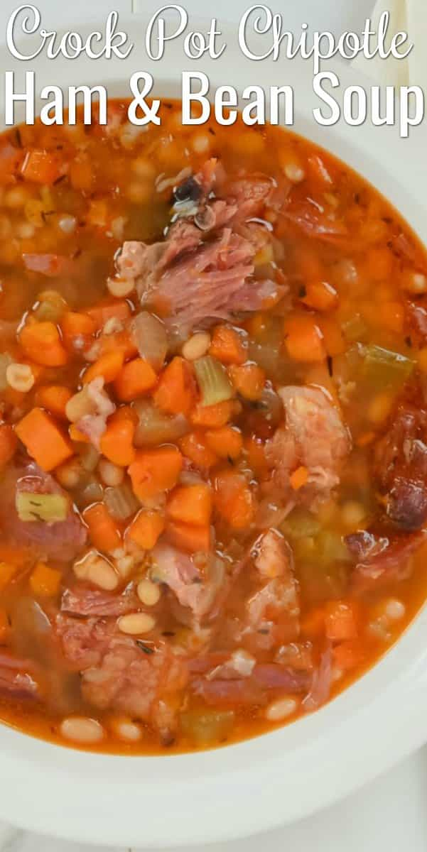 A favorite Ham and Bean Soup is Crock Pot Chipotle Ham and Bean Soup. A great use for leftover ham bone or ham hock. A super simple and low cost meal from Serena Bakes Simply From Scratch.
