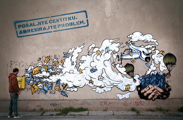 Grafiti atau Lukisan Dinding awan, surat dan email
