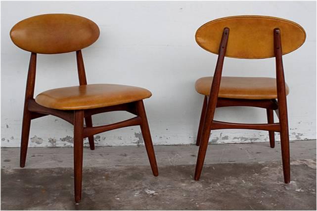 Modernist Furniture Camel Colored Leather Teak Accent