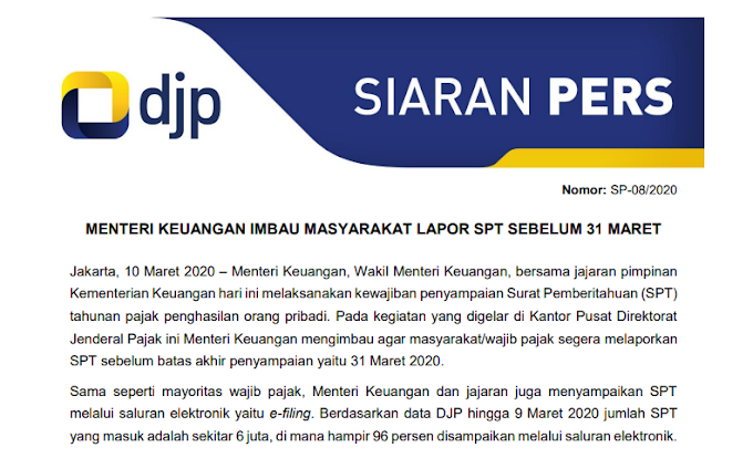Menteri Keuangan Imbau Masyarakat Lapor SPT Sebelum 31 Maret