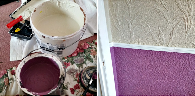 Paint pots and the paint on the walls.