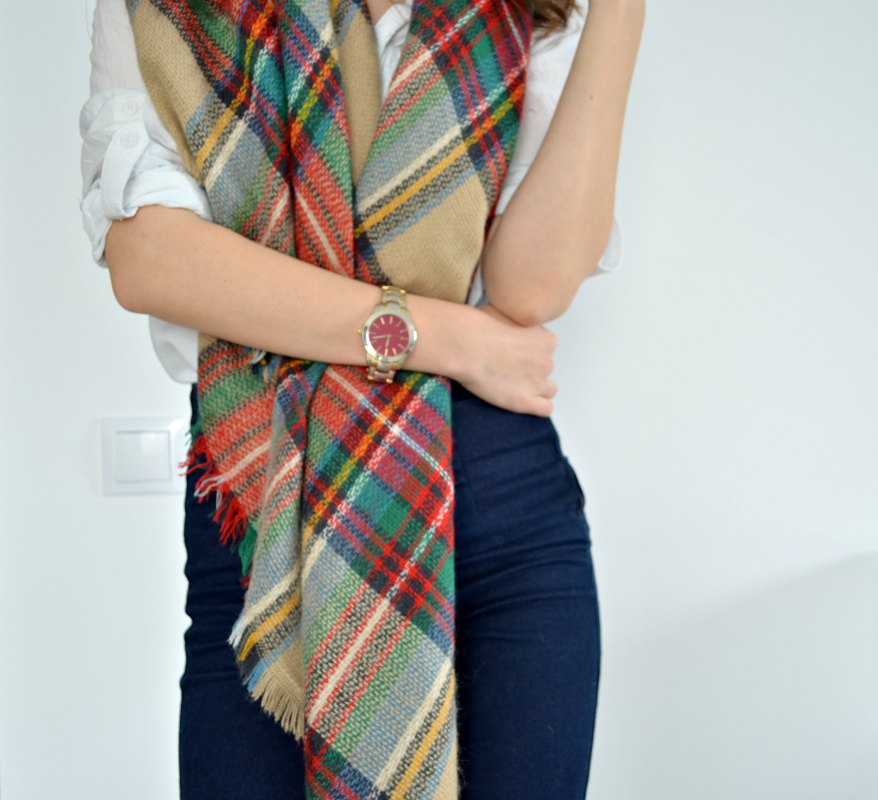 checked blanket scarf and burgundy gold watch outfit