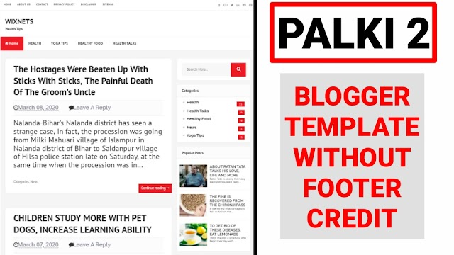 Palki 2 Blogger Template without Footer Credit | Palki 2 Premium Blogger Template