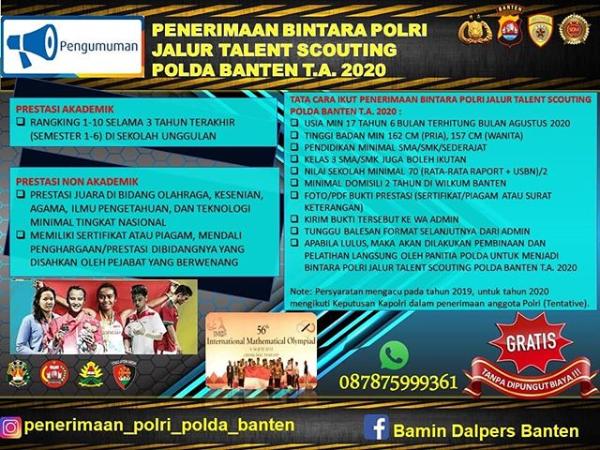 Info Penerimaan Bintara Polri Jalur Talent Scouting Polda Banten T.A 2020