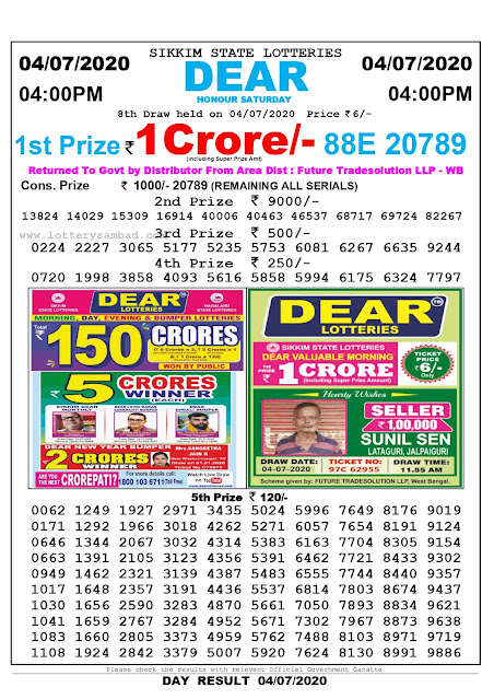 Sikkim State Lottery Sambad 04-07-2020 Today Result 4 PM