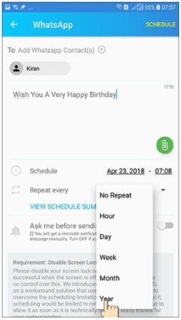 Auto Send WhatsApp & Facebook messages at specific times (scheduled app)