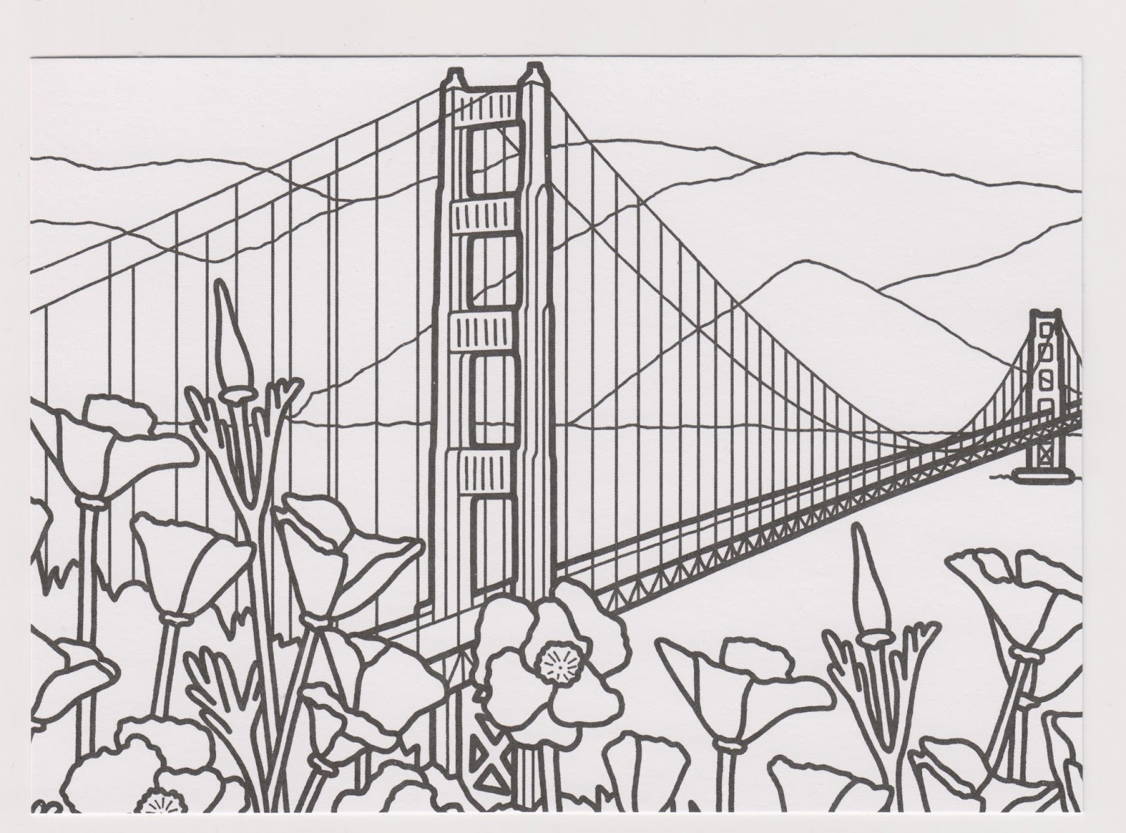 Golden gate bridge coloring pages