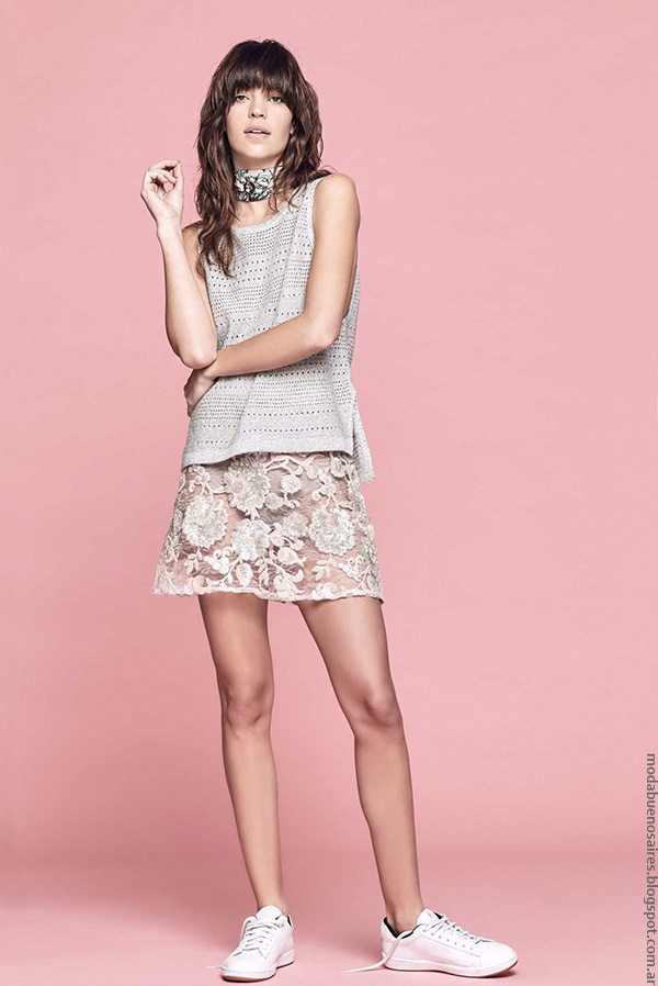 Moda verano 2017 faldas de encaje moda 2017.