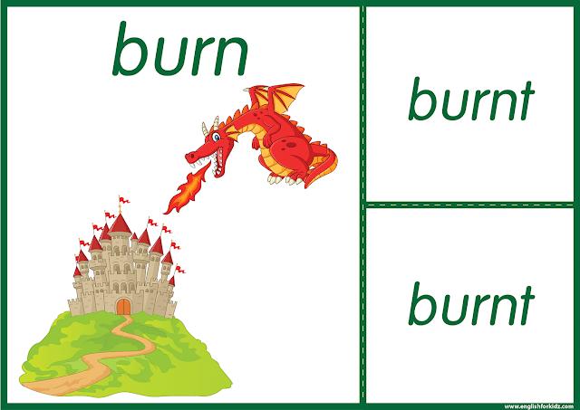 Irregular verb burn - printable ESL flashcards